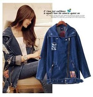 New Winter Jacket  Women Do The Old Retro Street Motorcycle Frayed Denim Jacket Loose Big Yards Personality Popular  Fashion