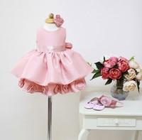 2014 New!Baby Girl Tutu Dress Ivory Color Georgette Girl Dress Princess Layered Dress Girl Wedding 3D Flower Dress Free Shipping