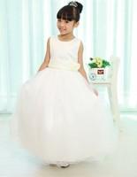 Free  shipping  Ribbon Bow 2Y-6Y White Flower Girl Tutu Dress For Birthday/Photo/Wedding/Party/Festival