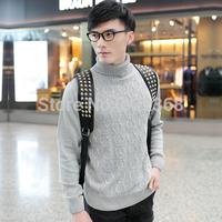 2014 New fashion high quality Men's high collar Casual lattice shirt Basic V-neck cotton sweater Knitwear clothing Free Shipping