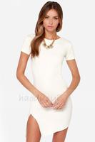 HIGH QUALITY! White o-neck Asymmetric split hem women's dress girl fashion dress XS-XXL,141516437
