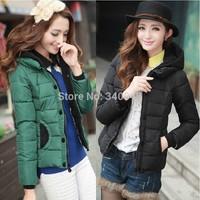 Wholesale price!2014 winter new arrival women's long sleeve short designer hooded down & parkas coat lady jacket 5 colors L-XXL