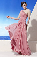 2014 Captivating Chiffon Evening Dress A-Line Beading Lace Pleated One Shoulder Sleeveless Floor-Length Prom Dress