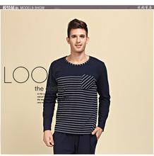 Fall fashion classic long-sleeved striped pajama suit men(China (Mainland))