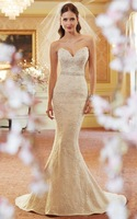 2014 Glimmering Satin Wedding Dress Mermaid Beading Lace Appliques Sweetheart Strapless Sleeveless Lace Up Bridal Gown