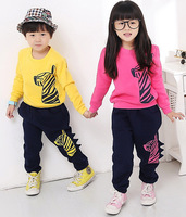 2014 Autumn Children Set Baby Boys Girls Zebra Design Long Sleeve Tops And Pant Set Kids Clothing 5 SET