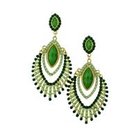 Romantic Turquoise Beaded Drop Luxury Rhinestone Long Women Party Dangle Earring Bohemian Fashion Jewelry Accessories