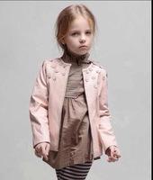 2014 fashion children girls pu leather flower jacket outerwear pink white