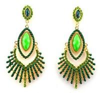 Romantic Turquoise Beaded Drop Luxury Rhinestone Ethnic Women Party Dangle Earring Bohemian Fashion Jewelry Accessories