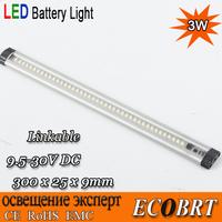 2014 new 3w surface flat aluminum 30cm long led linear bar boat battery light 9.5-30v for marine cabinet lights 2pcs/lot