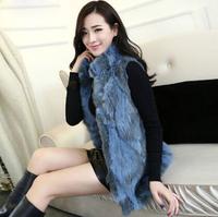 2014 Autumn And Winter Real Rabbit Fur Vest Female Fur Vest Medium-long Fur Outerwear 5 Color Plus Size For Promotion