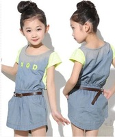 2014 new arrival girls denim dress + belt splicing letter XQD casual denim cotton dress 4-7 years girl dresses