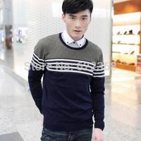 2014 autumn high quality Men's high collar Casual lattice shirt O-neck 100% cotton sweater Knitwear clothing Free Shipping
