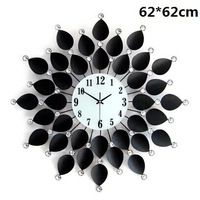 gz011-1 Free shopping EMS 1pcs48diamond 62*62cm Super wrought iron clock set auger European sitting room mute fashion wall clock