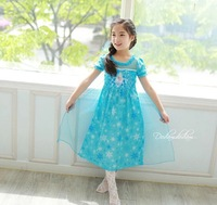 Frozen dress girls frozen elsa dress princess dress Kids clothes blue party dress 2014 summer 3-7 years