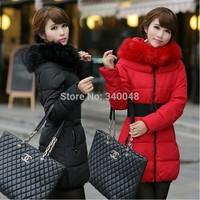Long designer slim down and parkas coat for women big fur collar cotton coat office ladies' winter elegant jacket free shipping