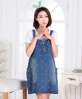 2014 Korean version of the new women dress sleeveless summer dress embroidered denim skirt strap dress cute tops loose big yards