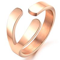 Titanium ring female 18k rose gold fork finger ring