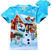 2014 New Design 100% Cotton Super Frozen Snow Cartoon Boys Frozen Tops&Tees Girls T Shirt  Frozen Snow T Shirt