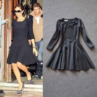 Free shipping 2014 autumn/winter Fashion women's  ruslana korshunova victoria beckham same black long-sleeved one-piece dress