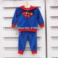 5pcs/lot (6M-3T) Wholesale Baby Boys Clothing Set Fleece 2pcs/set Hoodie Superman Boys Jacket Pant Newborn Children kids Outwear