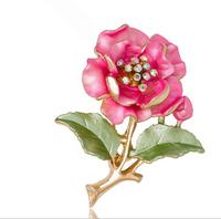 Free Shipping Decorative Enamel Garment Jewelry  Flower Bouquet Brooch Pin Bridal Wedding Crystal Flower Brooch Pin For Women