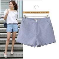 Fashion Free Shipping 2014 New Summer Cute Temperament Plaid Slim Casual Loose Short Pants S,M,L WKZ-1045