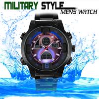 Vogue Military Man Full Steel Relojes Mens Sports Watches LED Digital Analog Quartz Wristwatch 3ATM Relogio Masculino 2014