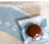 100pcs/lot blue small cake lace baking supplies Plastic cake biscuit packaging bag cookie bag