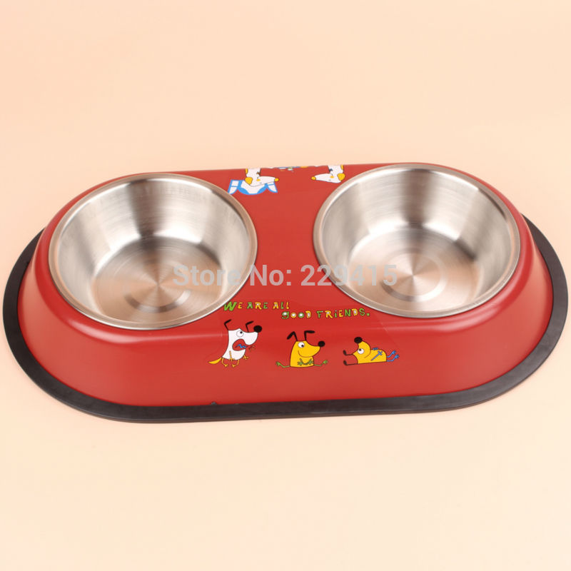 Stainless steel double dog bowl Pet food and water bowls puppy and cats bowl Red and Blue Pet supplies(China (Mainland))