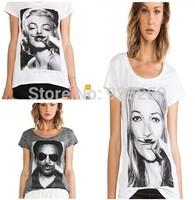 new arrival fashion summer 2014 women cotton mustache print  tshirt women Marilyn Monroe print short sleeve plus size top