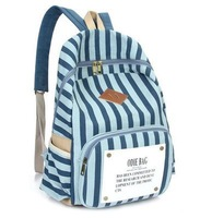 Wholesale High Qulaity All-match Striped Children's  School Bags Canvas Women Backpack  Men's  Backpacks Travel  Bag