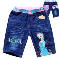 2014 New Arrival Cheap 6pcs/lot Frozen Short Jeans Cartoon Girls Summer Jeans Princess Kids Frozen Jeans