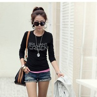 Fall 2014 cotton long sleeve T-shirt women cultivate one's morality leisure round collar T-shirt S - XXL loose big yards