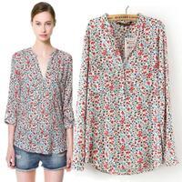 2014 Autumn summer new women blouse Free Shipping long-sleeved shirt casual Floral loose chiffon blouse blusas femininas