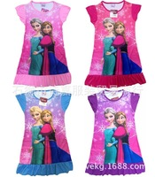 4 PCS/lot frozen baby pajamas children's wear children's skirt with alsa Anna cartoon dress 1416