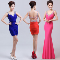 Evening dress 2014 new shorts host self Princess sweet fishtail dress Star Party