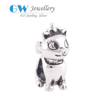 Модный Cute cat charm European Bead Compatible with love bracelets GW fine jewelry ...