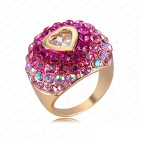 Retail-Romantic Christmas Gift Colorful   Element Austrian Crystal Love Ring 18K Gold Plated Heart Ring Women Jewelry Rings