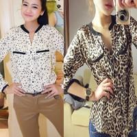 Exclusive!! XS-XXL,Hot Sale 2014 New Fashion Women Star Print Leopard Print Chiffon Blouse PLUS SIZE