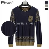 SINDOK  round collar thickening fashion brand men's clothing woolen sweater render unlined upper garment sweater British style