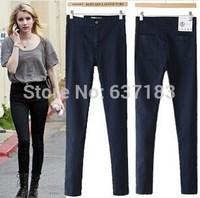 2014 Women Vintage American Apparel Pencil Pants High Waist Denim Lady AA Sexy Slim Elastic Jeans Skinny Trousers Free Shipping