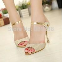 ew  Summer Peep Toe Sweet Fashion Women's Sandals Thin Heel Pumps Princess High Heels Women Shoes