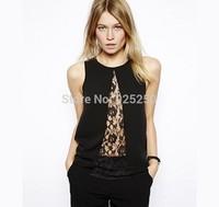 blouse and shirt women fashion 2014 european style chiffon and lace crochet patchwork top women sleeveless sexy plus size shirt