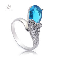 Wholesale Casual Blue Cubic Zirconia Romantic S 925 sterling Silver ring Trendy R--3712 sz#6 7 8 9