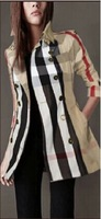 Free Shipping Women's Trench Coat 2014 Fashion Classic Plaid British Style Brand Design Laides' Trench Coat Windbreaker