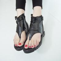 wholesale free shipping 2014 summer flat heel fashion zipper flip-flop buckle decoration shoes women sandals