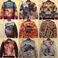 [Magic] 2014 newest style men's sweatshirt Animal/fruit/character printing 3D sweatshirts for men thin hoodies free shiping