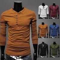 M-2XL New 2014 Fashion 6 Colors Placket Solid Primer Long Sleeve Slim Men's Casual T-shirt T38-B , Free Shipping
