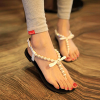 wholesale free shipping Bohemia sandals pearl sandals female flat bow sandals flip-flop